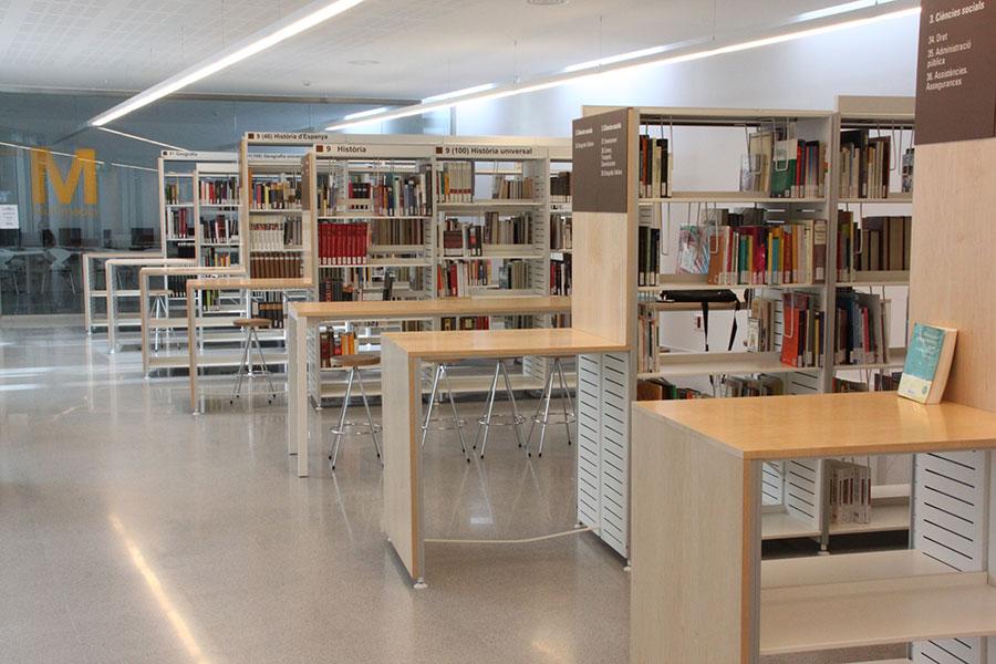 Estanterias para bibliotecas estantera con ruedas moderna for Mesa biblioteca